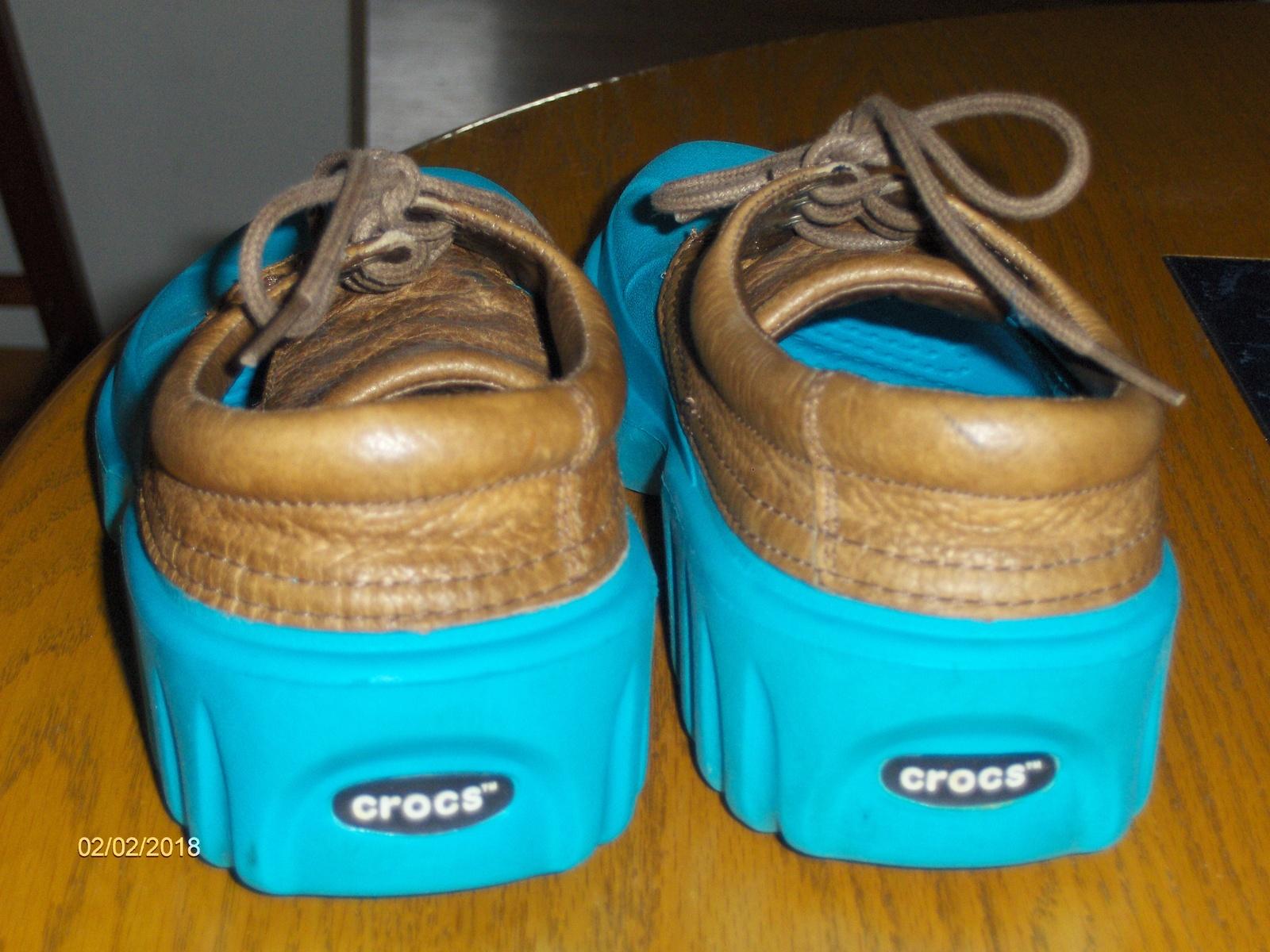 a51b6689d782 Crocs Axle All Terrain Blue Islander Boat Shoes Brown Leather Upper Womens  W8 M6