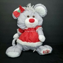 Vintage Fisher Price Puffalump Christmas Mouse Mrs Clause Red Bow Tie 14... - $34.64