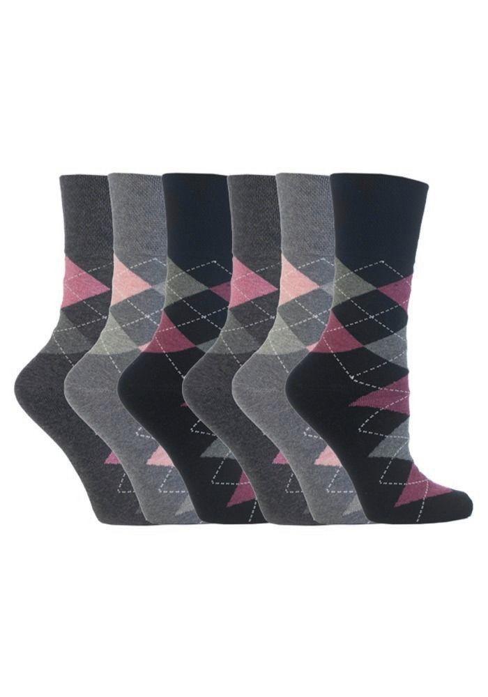 Gentle Grip - 6 Pack Womens Ladies Loose Top Non Binding Elastic Cotton Socks