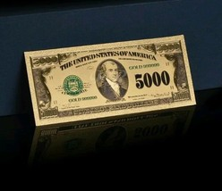 GOLD American OLD STYLE $5,000 Banknote Rep*~BEAUTIFUL RAISED DE - $11.11