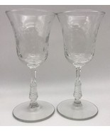 """2 LIBBEY ROCK SHARPE DARTELLE 6"""" WINE GLASSES Flowers Dots Lines  (17-779A) - $12.35"""