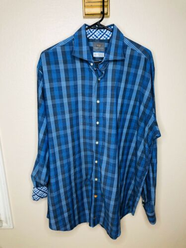 Primary image for Thomas Dean Blue Blue Check Flip Cuff Men's XXL Casual Button Down Shirt EUC