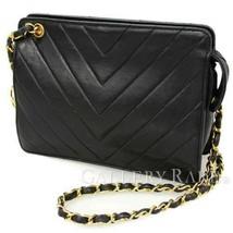CHANEL Shoulder Bag Chevron Lambskin Black V Stitch France Authentic 521... - $1,355.08