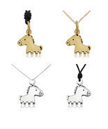 Unique Handmade Horse Silver Pewter Gold Brass Charm Necklace Pendant Je... - €6,89 EUR+