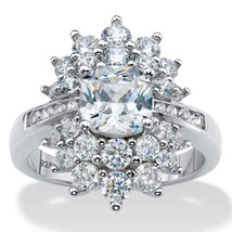 3.22 TCW  Cushion-Cut Cubic Zirconia Sterling Silver Cluster Starburst Ring - $31.99