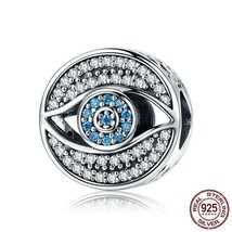 Women Blue Eye Clear CZ Guarding Charm Bead Fit Bracelet Sterling Silver... - $21.99