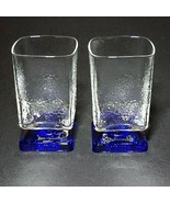 2 (Two) VINTAGE DI SARONNO BLUE & CLEAR Pebble Square Footed Cocktail Gl... - $18.04