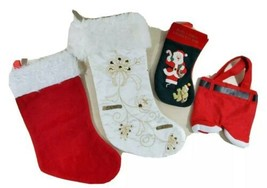 "Christmas Stocking Lot of 4 Assorted Sizes 10"" 16"" 18"" and Styles Distre... - $15.67"