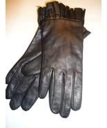 Ladies Genuine Leather Ruffle Cuff Gloves,Black,Small-SEE DESCRIPTION FO... - $23.17