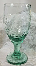 "Vintage Libbey Spanish Green Orchard Fruit Water Goblet 7"" image 1"