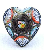 Vintage Italy Silver Toned Filigree Micro Mosaic Heart Glass Pin Brooch - $39.60