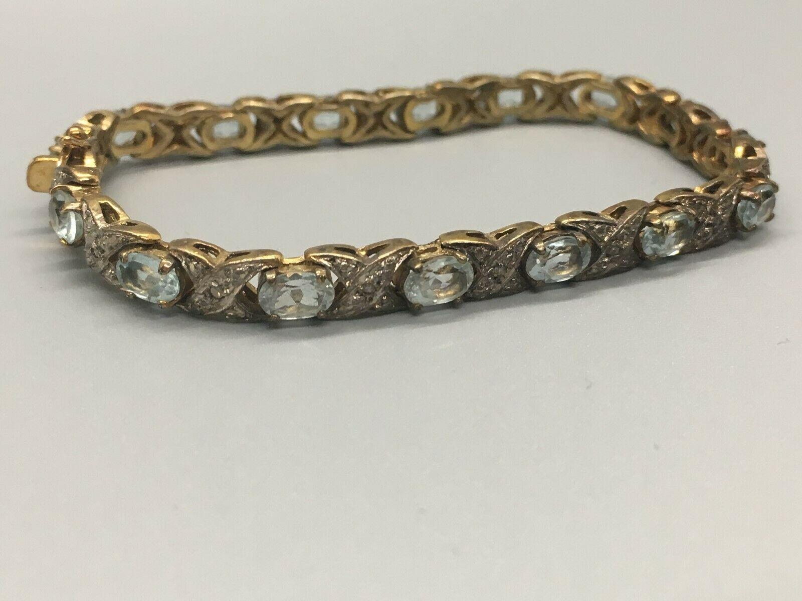 "Pretty Vintage 7"" Sterling Silver and Blue Topaz Bracelet Signed XOX image 2"