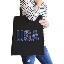 USA With Stars Black Canvas Bag Unique USA Letter Printed Tote Bag - $15.99