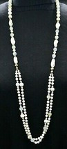 White Silver Metallic Swirl Long Glass Bead Beaded Necklace Vintage - $29.69