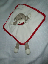 Baby Starters Sock Monkey Baby Rattle Lovey Lovie Security Blanket White... - $14.84