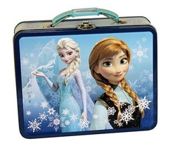 Disney's Frozen Anna and Elsa Embossed Carry All Tin Tote Lunchbox Blue, UNUSED - $14.46
