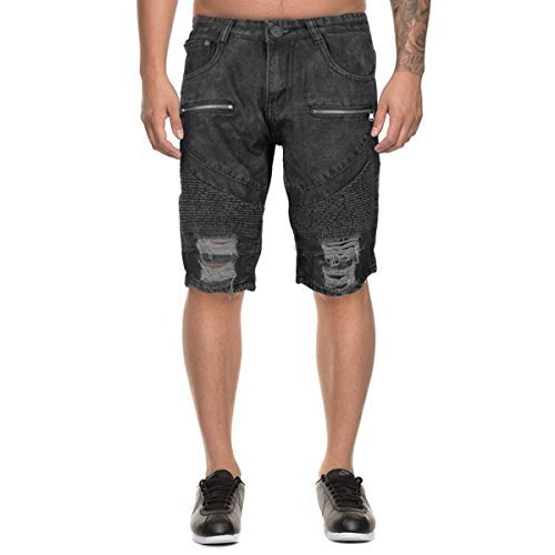 LR Scoop Men's Moto Quilted Distressed Skinny Jean Denim Shorts DZM-80 (32, Blac
