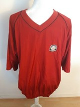 Footjoy Golf Windbreaker Pullover Jacket Red Sz Large Short Sleeves Lightweight - $22.72