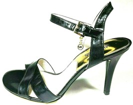 Michael Kors Womens Size 8 M  Elisa Black Leather Slingback Heels Sandals Shoes - $41.90
