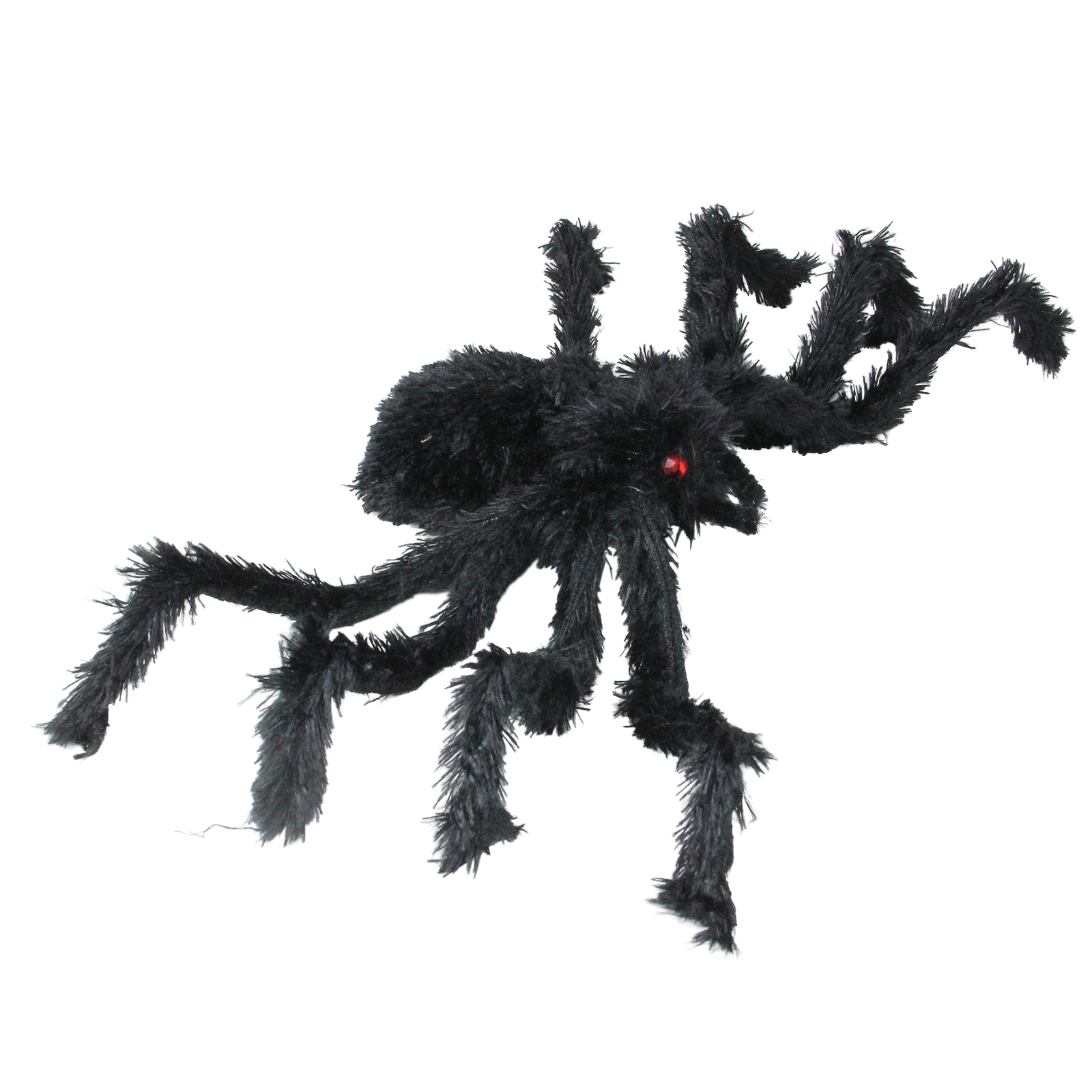 """Northlight 24"""" Black Fuzzy Spooky Spider Red Eyes Halloween Table Decor"""