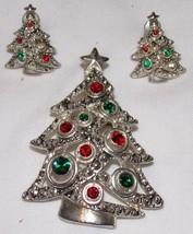 Christmas Costume Jewelry Set 3 pcs Pin Brooch Pierced Earrings Tree Rhi... - $22.15