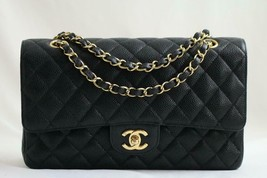 "CHANEL 10"" MEDIUM BLACK Quilted CAVIAR Double Flap Bag 24kt GH AUTHENTIC... - $4,353.36"