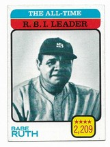 1973 Topps #474 All-Time RBI Leader, Babe Ruth, New York Yankees - $7.40