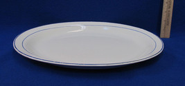 Vintage Homer Laughlin Oval Platter Empress 11 9 N White w/ Blue Edging ... - $12.86