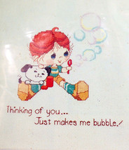 Wee Winsomes Cross Stitch Thinking Of You Bubble Baby Hugs N Stitches 1984 Dmc - $19.78