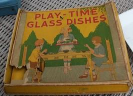 Vintage Play Time Akro Agate Topaz Tea Set Original Box Complete - $98.99