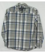 American Rag Mens Large Long Sleeve Pearl Snap Shirt Blue Gray White Str... - $23.38