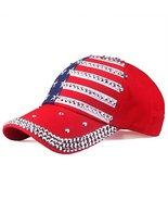 USA Flag Hat - Red Rhinestone Adjustable Womens Cap - Red/White/Blue - $29.65