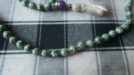 "Vintage 39"" Jade Prayer Bead Amethyst Necklace - $27.72"