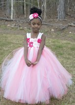 Pink & White Tutu, Coral and White Empire Waist Tutu Dress, Coral Flower... - $50.00+