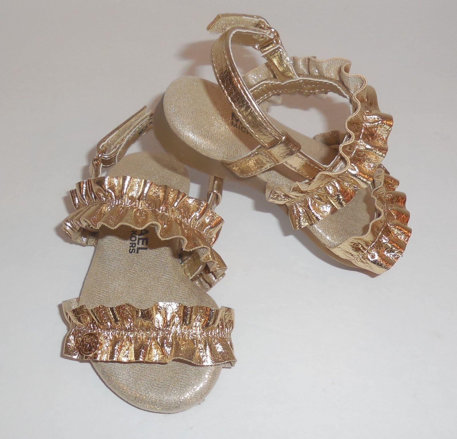 04f542b1ef Michael Kors Girls 8 Toddler Demi Frillz T-888 Gold Sandals Shoes Ruffles  New