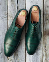 Handmade Men's Green Heart Medallion Dress/Formal Oxford Leather Shoes image 1