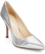 NEW NINE WEST SILVER LEATHER PUMPS SIZE 8.5 M $89 - $37.99