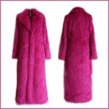 Long Full Length Lapel Collar Faux Fur Fashion Coat White Leopard Black Red Pink image 5