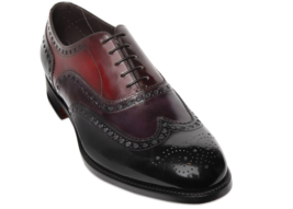 Three Tone Handcrafted Genuine Leather Cap Toe Customized Wing Tip Oxford Shoes - $139.90+