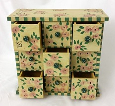 Wood Jewelry Trinket Box 9 Drawer Green Pink Floral Shabby Chic Country ... - $24.65
