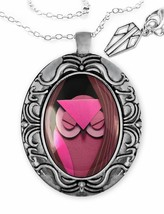 Sleepy Pink Paper Craft Cartoon Owl Silver Handmade Fantasy Pendant Neck... - $22.49