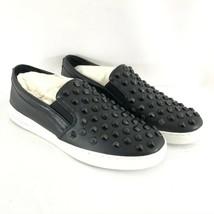 Michael Kors Womens Sneakers Slip On Rhinestones Black Leather Size 9.5 - $72.55