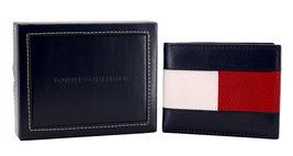 Tommy Hilfiger Men's Premium Leather Double Billfold Passcase Rfid Wallet Navy image 10