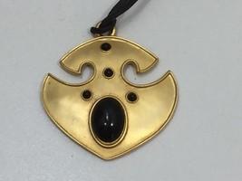 Vintage Goldtone Pendant Necklace Faux Onyx Black Cord 24378 - $13.46