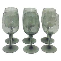 Vintage Mid Century italian Smoked Glass Wine Glasses-Set of Six - $69.00