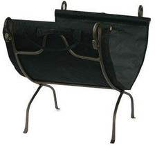 Bronze Finish Wrought Iron Log Holder with Canvas Carrier - $96.20