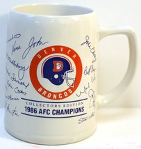 NFL Denver Broncos Large Mug 1986 AFC Champions Collectors Edition John Elway - $23.33