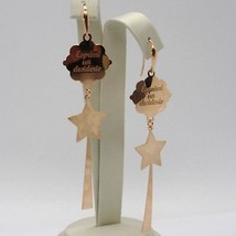 """925 STERLING ROSE SILVER """"LE FAVOLE"""" EARRINGS, STAR, MAGIC WAND, MAKE A WISH image 2"""