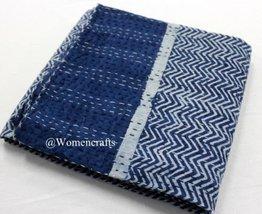 traditional fabrics Handmade Kantha Bed Cover Vintage Cotton Gudari Indi... - $63.65
