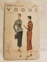 VTG VOGUE Sewing Pattern 8103 1950s SUIT JACKET & SKIRT AS IS - $12.86